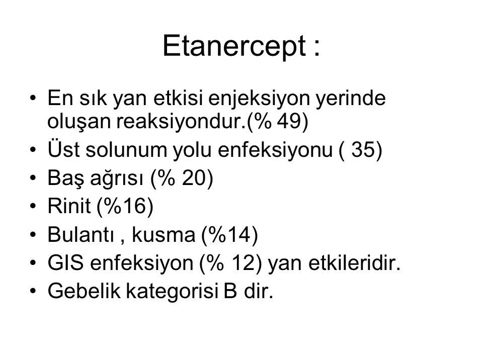 Etanercept : En sık yan etkisi enjeksiyon yerinde oluşan reaksiyondur.(% 49) Üst solunum yolu enfeksiyonu ( 35)