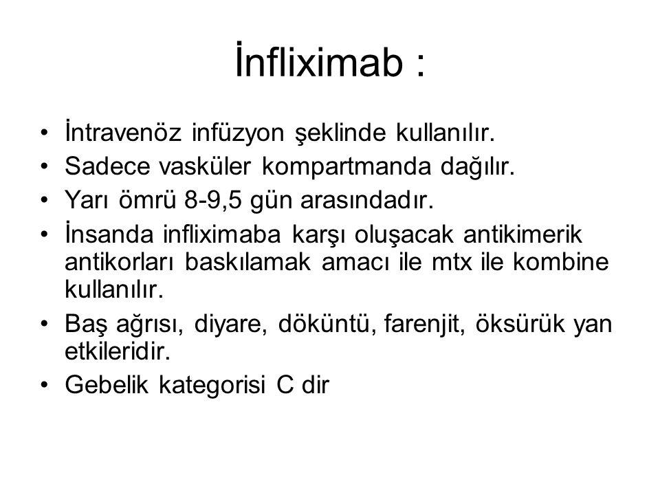 İnfliximab : İntravenöz infüzyon şeklinde kullanılır.