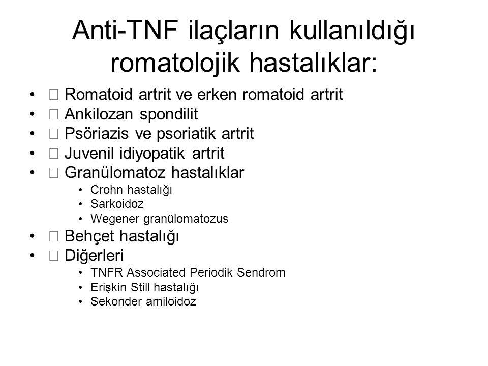 Anti-TNF ilaçların kullanıldığı romatolojik hastalıklar: