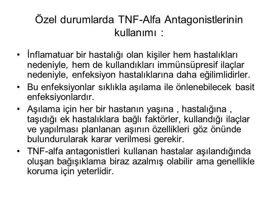 Özel durumlarda TNF-Alfa Antagonistlerinin kullanımı :