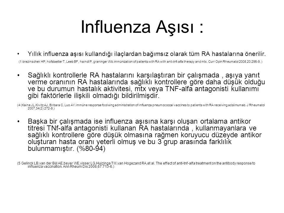 Influenza Aşısı : Yıllık influenza aşısı kullandığı ilaçlardan bağımsız olarak tüm RA hastalarına önerilir.