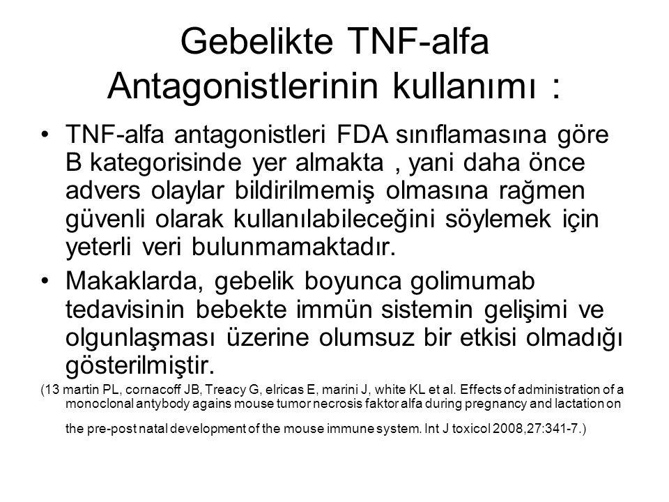 Gebelikte TNF-alfa Antagonistlerinin kullanımı :