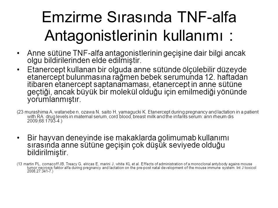 Emzirme Sırasında TNF-alfa Antagonistlerinin kullanımı :