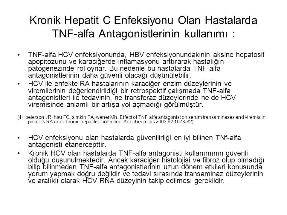 Kronik Hepatit C Enfeksiyonu Olan Hastalarda TNF-alfa Antagonistlerinin kullanımı :