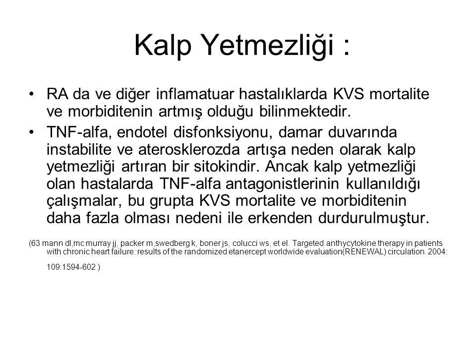 Kalp Yetmezliği : RA da ve diğer inflamatuar hastalıklarda KVS mortalite ve morbiditenin artmış olduğu bilinmektedir.