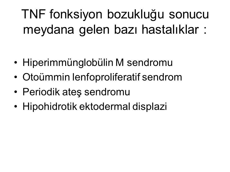 TNF fonksiyon bozukluğu sonucu meydana gelen bazı hastalıklar :