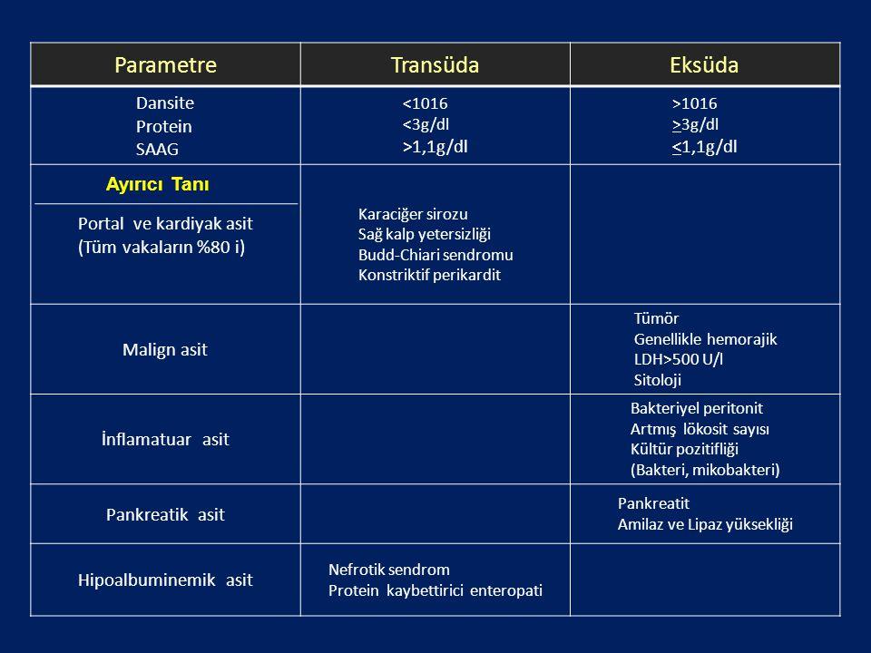 Parametre Transüda Eksüda Dansite Protein SAAG