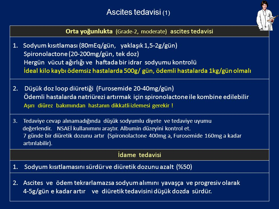 Orta yoğunlukta (Grade-2, moderate) ascites tedavisi