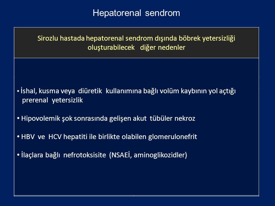 Hepatorenal sendrom Sirozlu hastada hepatorenal sendrom dışında böbrek yetersizliği oluşturabilecek diğer nedenler.