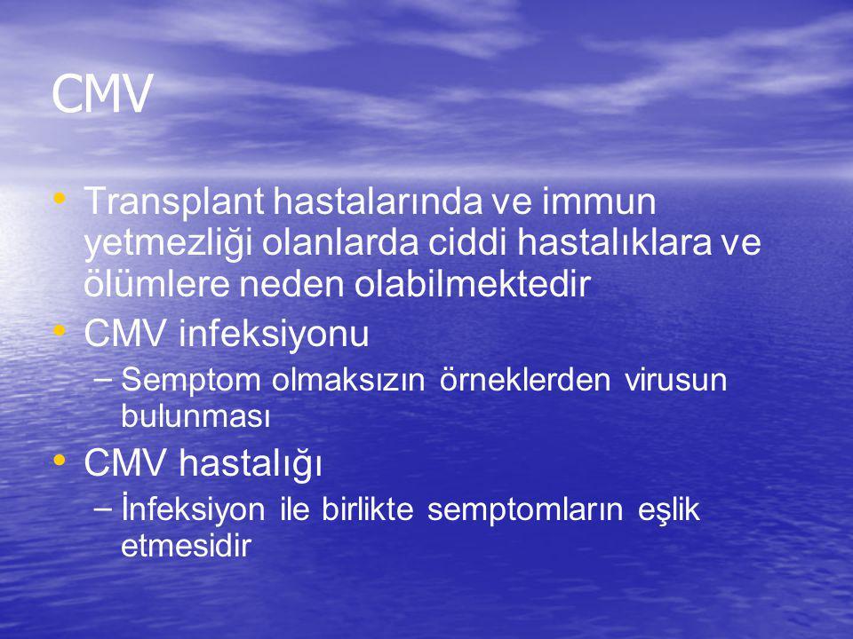 CMV Transplant hastalarında ve immun yetmezliği olanlarda ciddi hastalıklara ve ölümlere neden olabilmektedir.