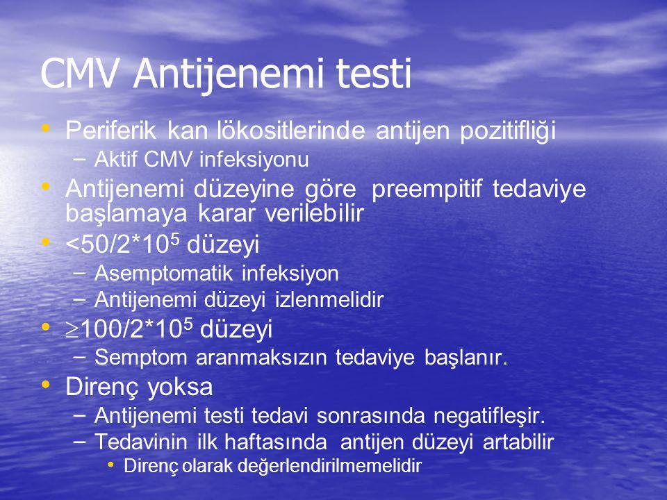 CMV Antijenemi testi Periferik kan lökositlerinde antijen pozitifliği