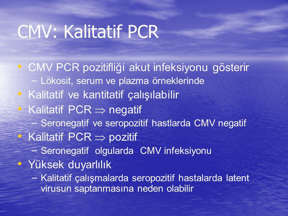 CMV: Kalitatif PCR CMV PCR pozitifliği akut infeksiyonu gösterir