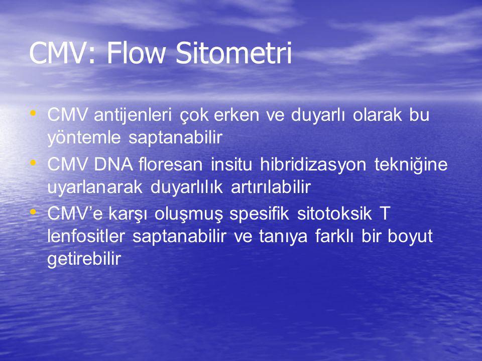 CMV: Flow Sitometri CMV antijenleri çok erken ve duyarlı olarak bu yöntemle saptanabilir.