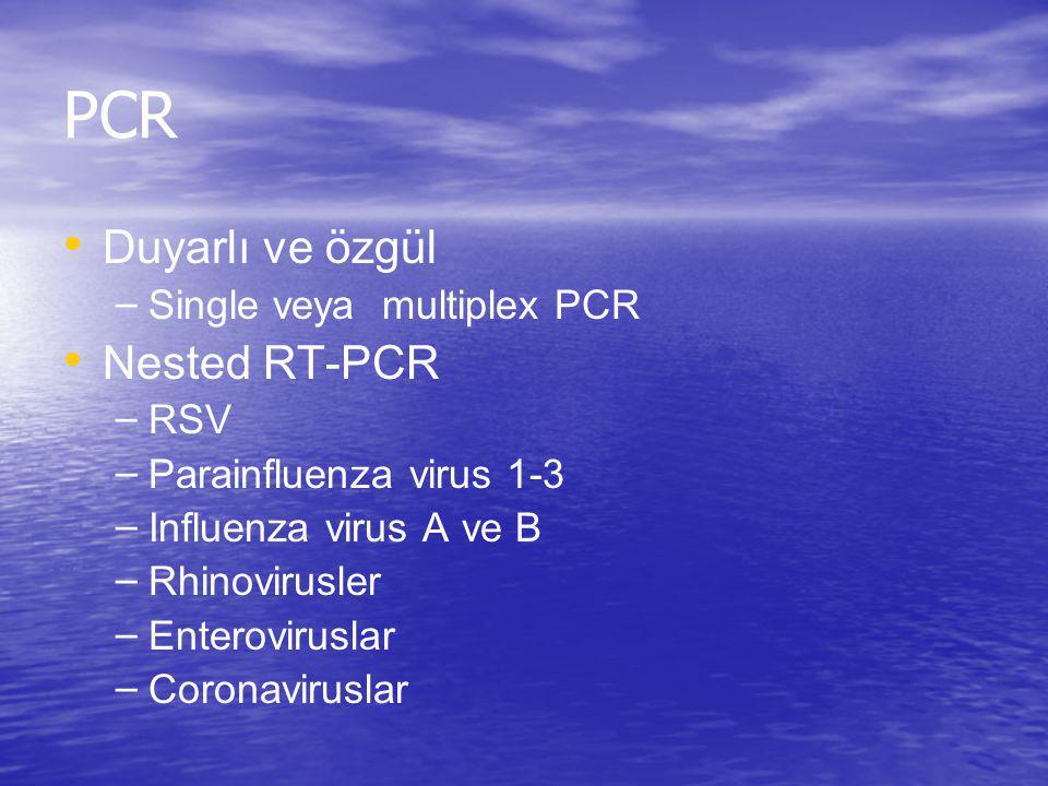 PCR Duyarlı ve özgül Nested RT-PCR Single veya multiplex PCR RSV