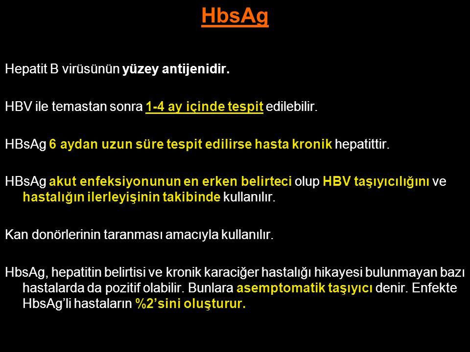 HbsAg Hepatit B virüsünün yüzey antijenidir.