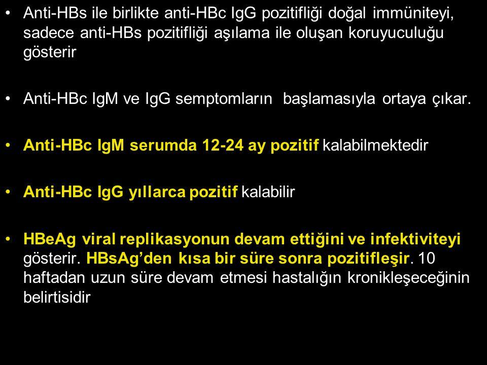Anti-HBs ile birlikte anti-HBc IgG pozitifliği doğal immüniteyi, sadece anti-HBs pozitifliği aşılama ile oluşan koruyuculuğu gösterir