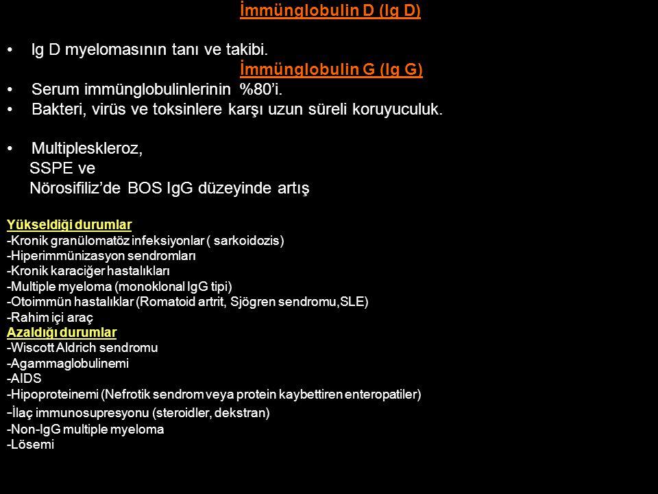 lg D myelomasının tanı ve takibi. İmmünglobulin G (Ig G)