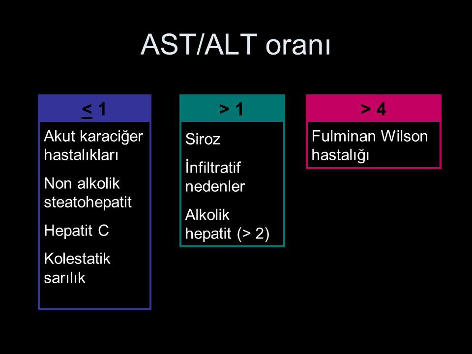 AST/ALT oranı < 1 > 1 > 4 Akut karaciğer hastalıkları