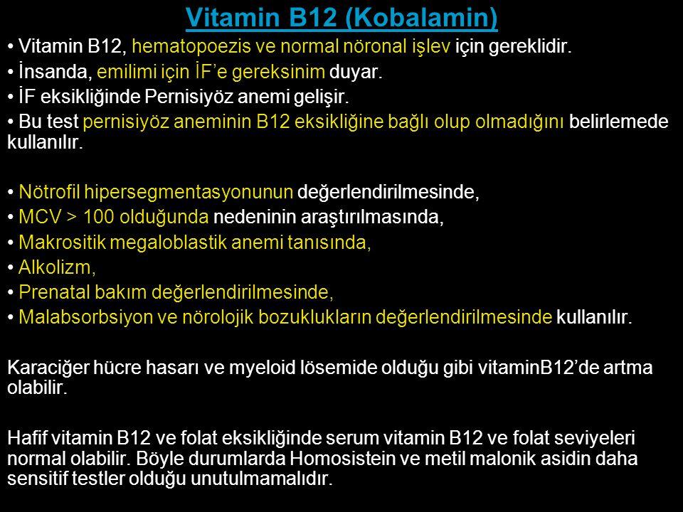 Vitamin B12 (Kobalamin) Vitamin B12, hematopoezis ve normal nöronal işlev için gereklidir. İnsanda, emilimi için İF'e gereksinim duyar.