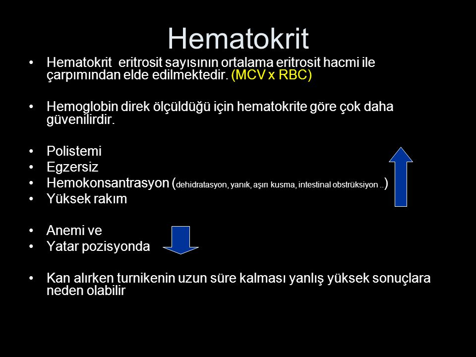 Hematokrit Hematokrit eritrosit sayısının ortalama eritrosit hacmi ile çarpımından elde edilmektedir. (MCV x RBC)