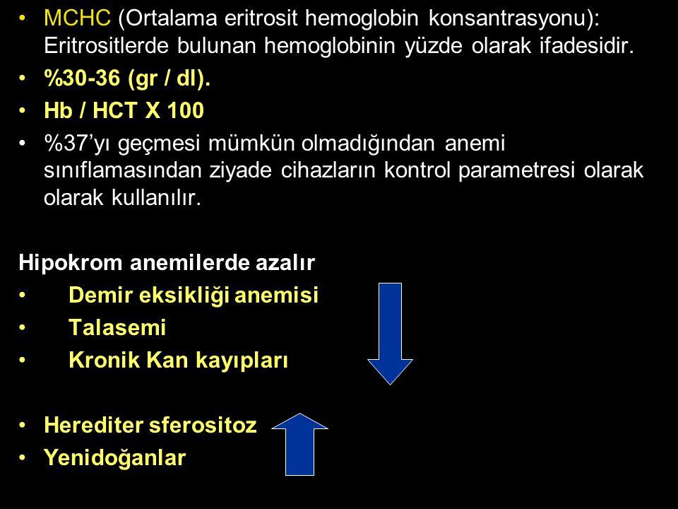 MCHC (Ortalama eritrosit hemoglobin konsantrasyonu): Eritrositlerde bulunan hemoglobinin yüzde olarak ifadesidir.