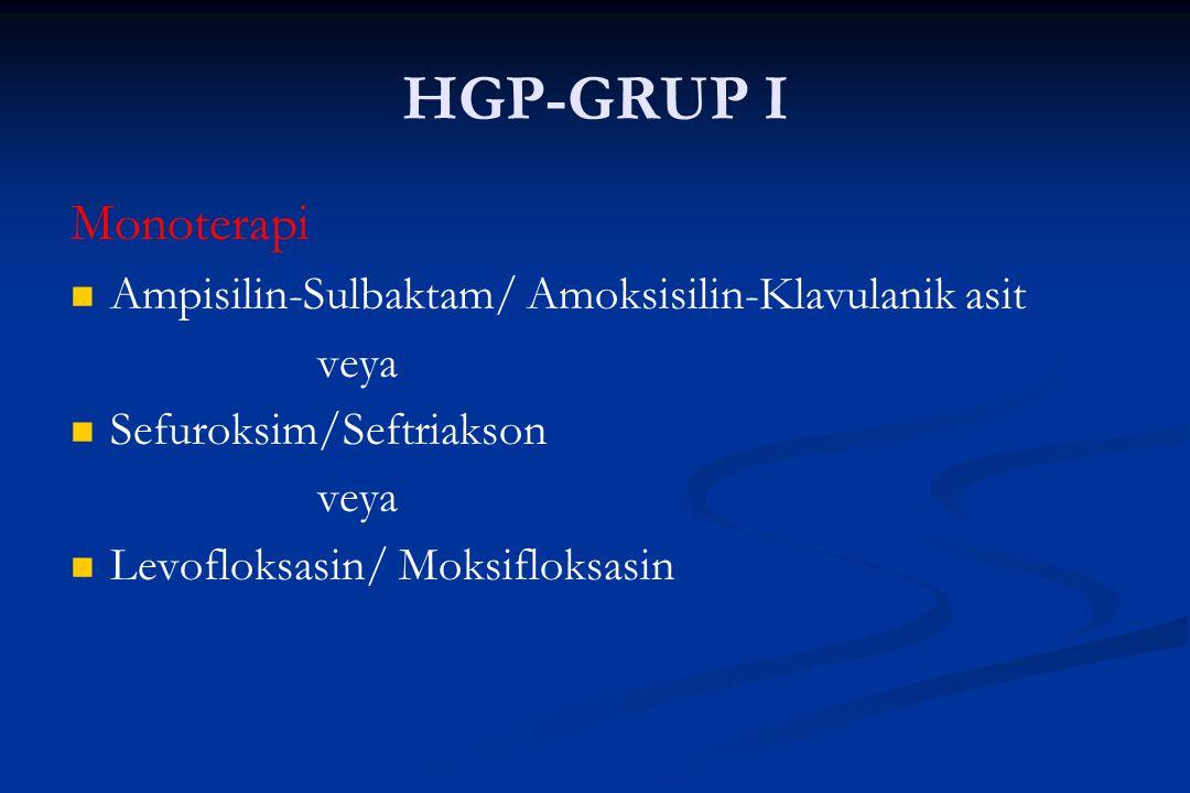 HGP-GRUP I Monoterapi Ampisilin-Sulbaktam/ Amoksisilin-Klavulanik asit