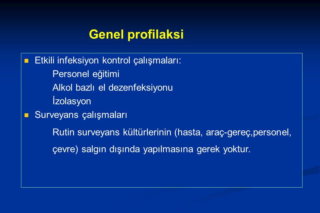 Genel profilaksi Etkili infeksiyon kontrol çalışmaları: