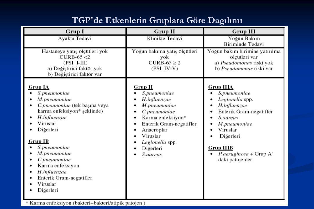 TGP de Etkenlerin Gruplara Göre Dagılımı