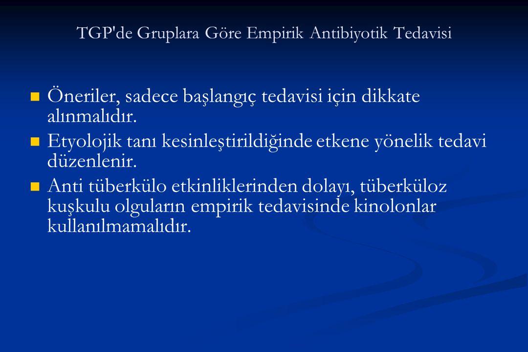 TGP de Gruplara Göre Empirik Antibiyotik Tedavisi