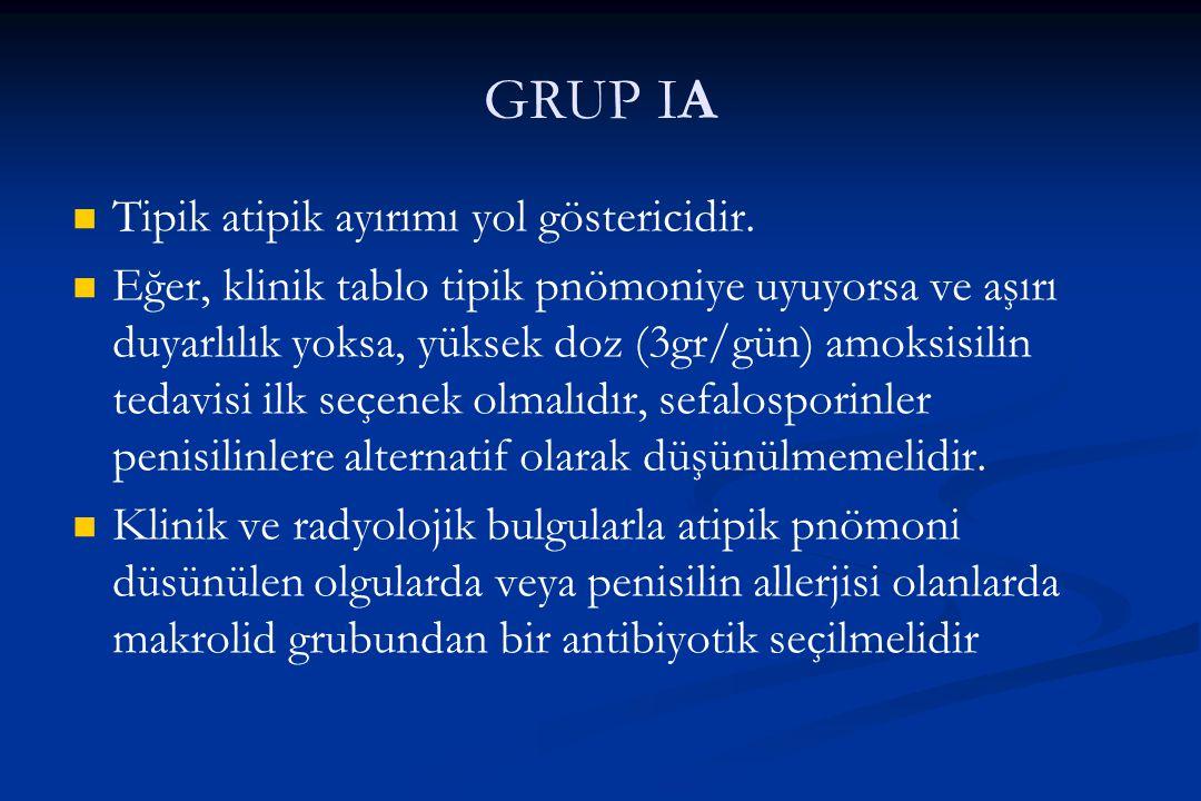 GRUP IA Tipik atipik ayırımı yol göstericidir.