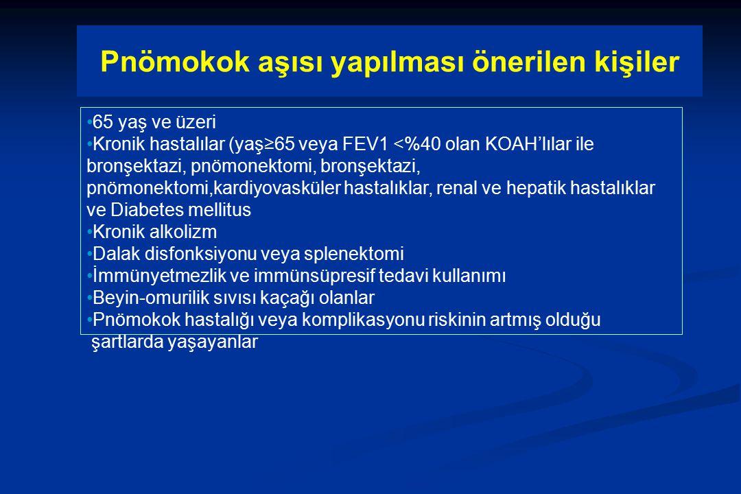 Pnömokok aşısı yapılması önerilen kişiler