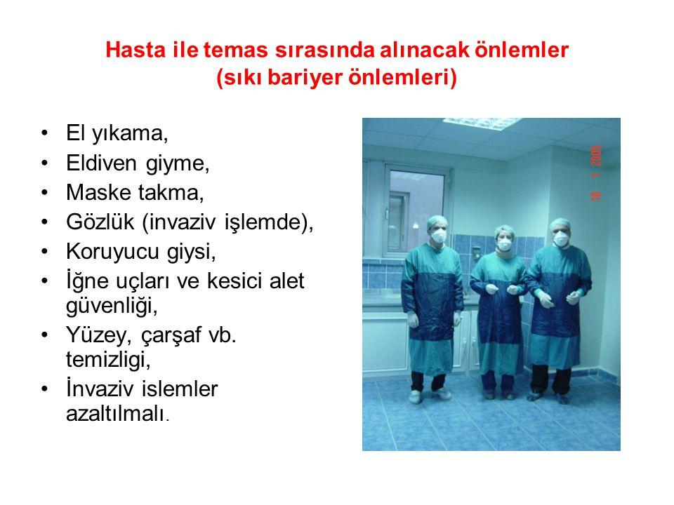 Hasta ile temas sırasında alınacak önlemler (sıkı bariyer önlemleri)