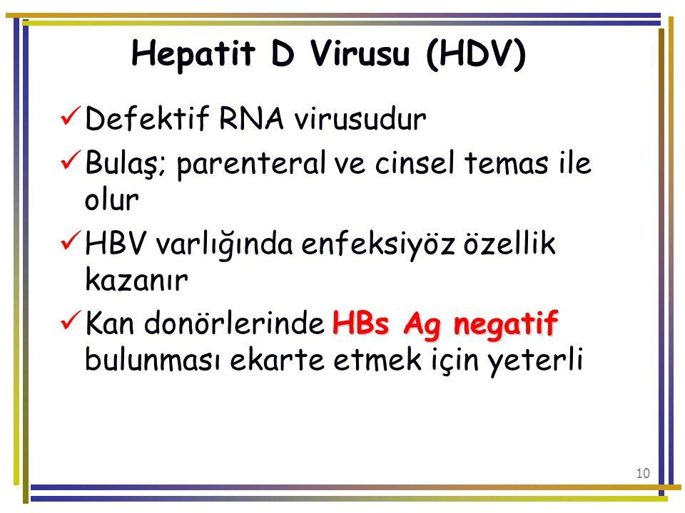 Hepatit D Virusu (HDV) Defektif RNA virusudur
