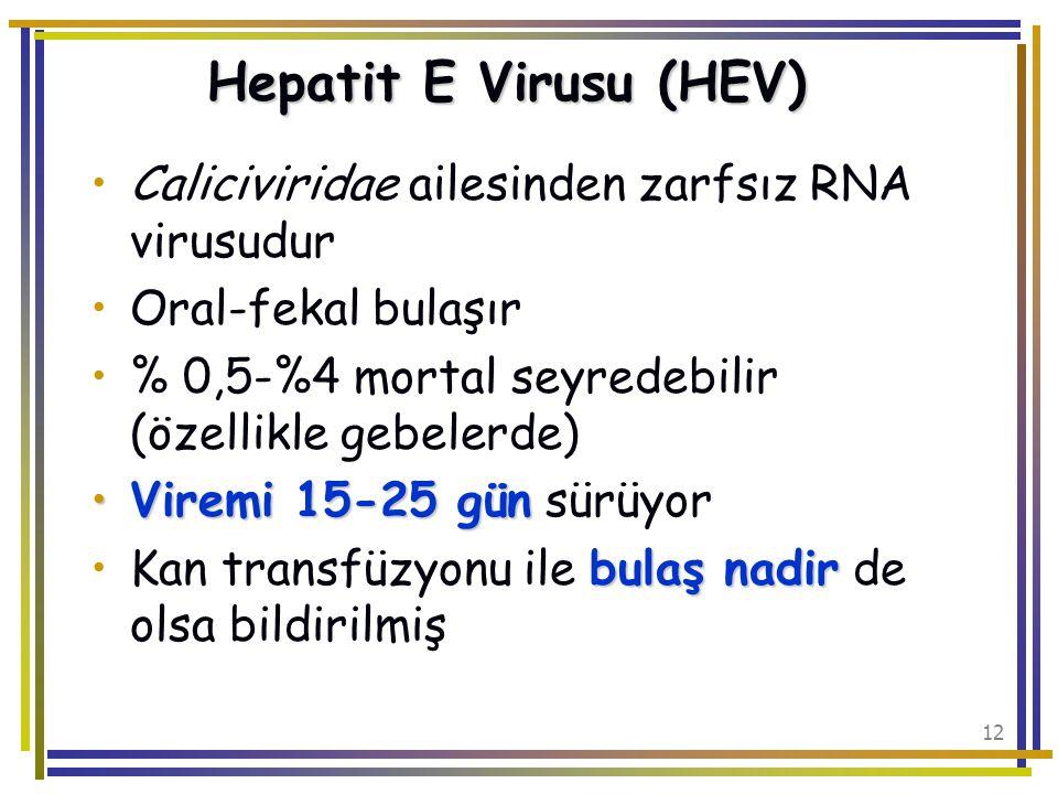 Hepatit E Virusu (HEV) Caliciviridae ailesinden zarfsız RNA virusudur