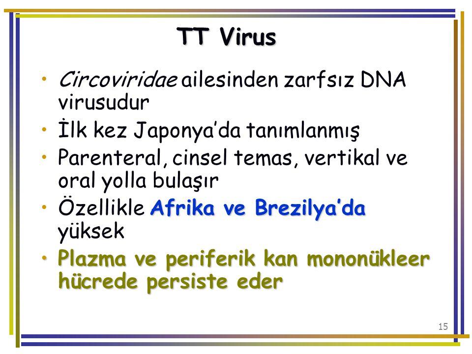 TT Virus Circoviridae ailesinden zarfsız DNA virusudur