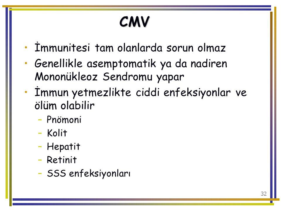 CMV İmmunitesi tam olanlarda sorun olmaz