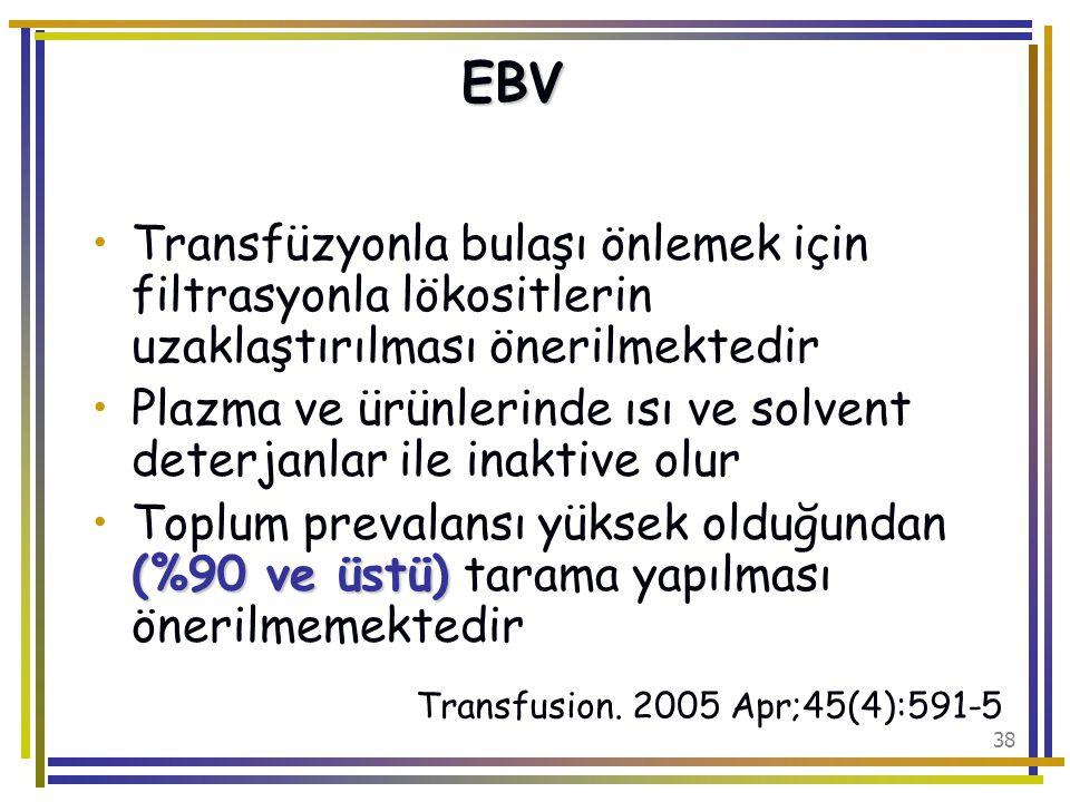 EBV Transfüzyonla bulaşı önlemek için filtrasyonla lökositlerin uzaklaştırılması önerilmektedir.