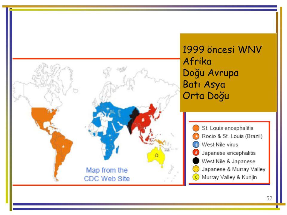 1999 öncesi WNV Afrika Doğu Avrupa Batı Asya Orta Doğu
