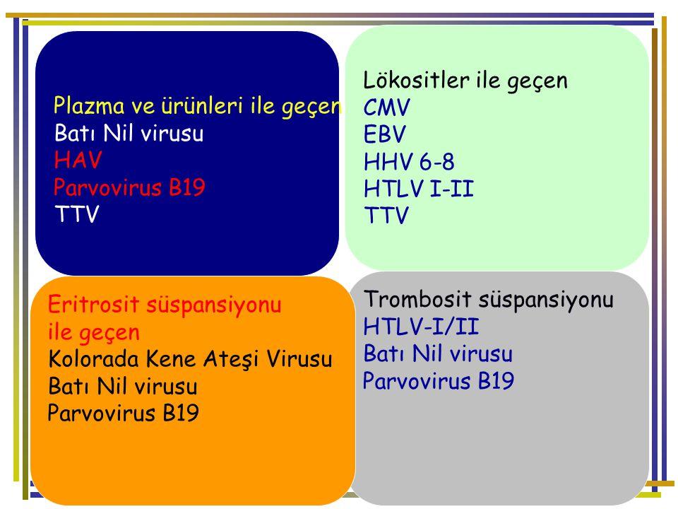 Lökositler ile geçen CMV. EBV. HHV 6-8. HTLV I-II. TTV. Plazma ve ürünleri ile geçen. Batı Nil virusu.