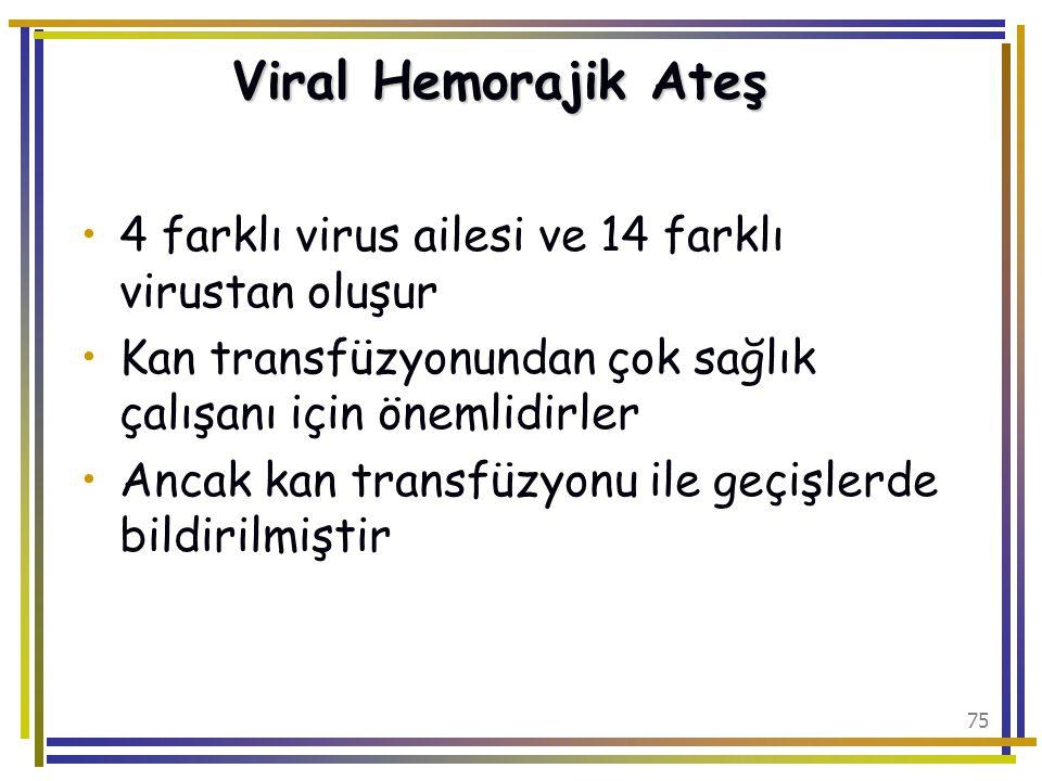 Viral Hemorajik Ateş 4 farklı virus ailesi ve 14 farklı virustan oluşur. Kan transfüzyonundan çok sağlık çalışanı için önemlidirler.