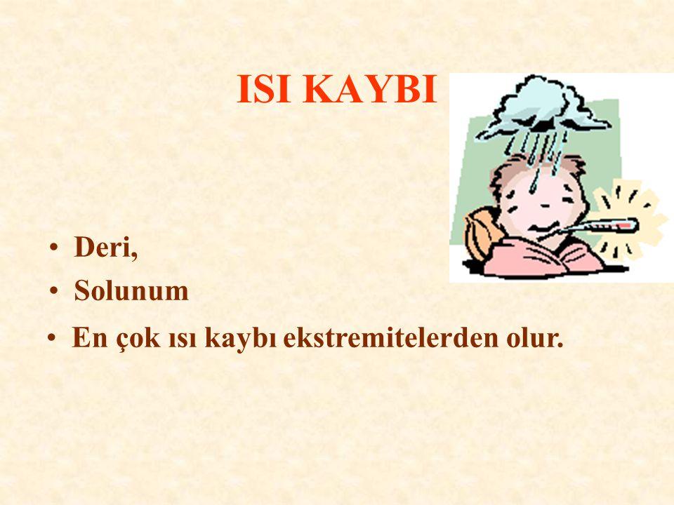 ISI KAYBI Deri, Solunum En çok ısı kaybı ekstremitelerden olur.