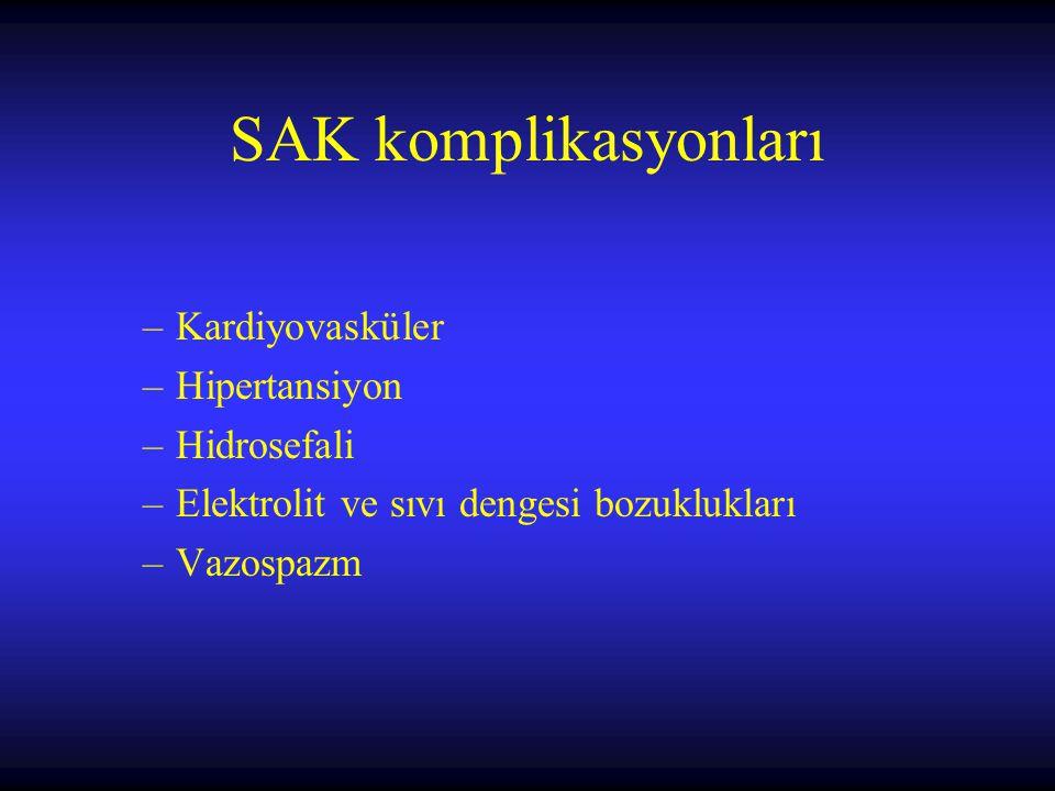 SAK komplikasyonları Kardiyovasküler Hipertansiyon Hidrosefali