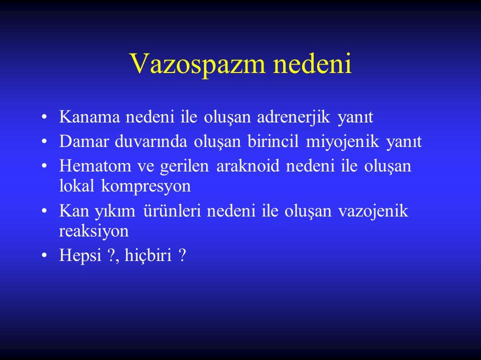 Vazospazm nedeni Kanama nedeni ile oluşan adrenerjik yanıt