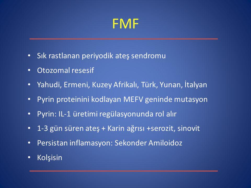 FMF Sık rastlanan periyodik ateş sendromu Otozomal resesif