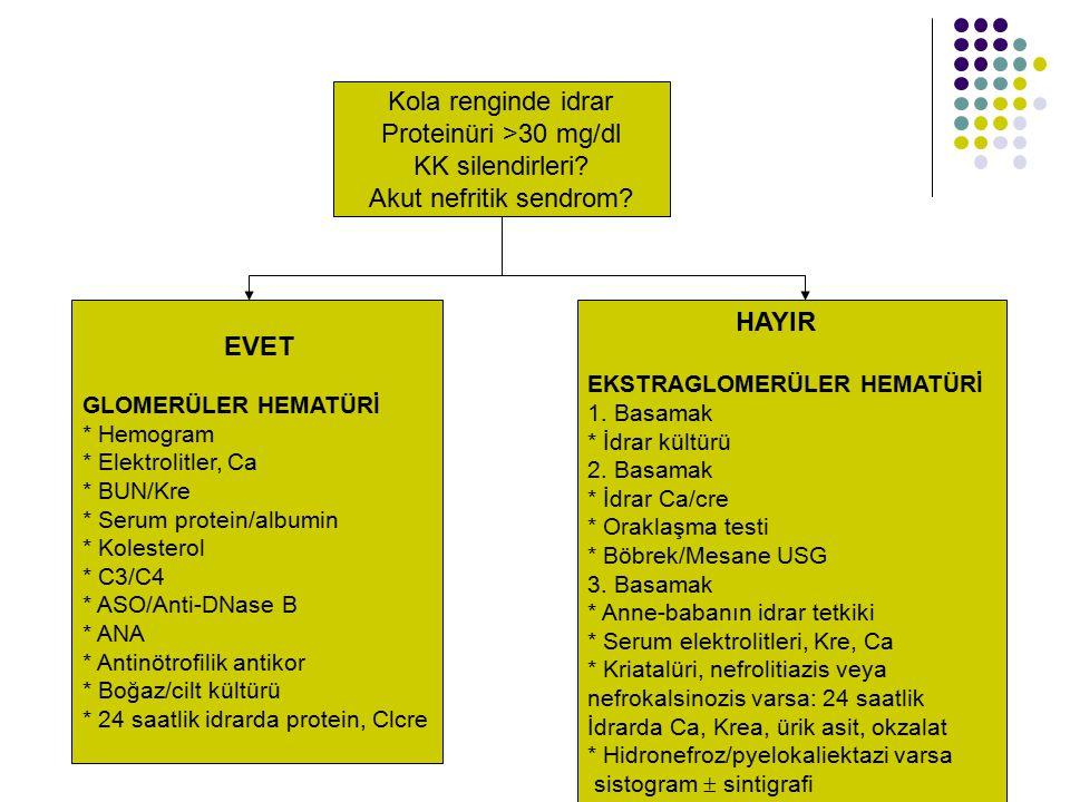 Kola renginde idrar Proteinüri >30 mg/dl KK silendirleri
