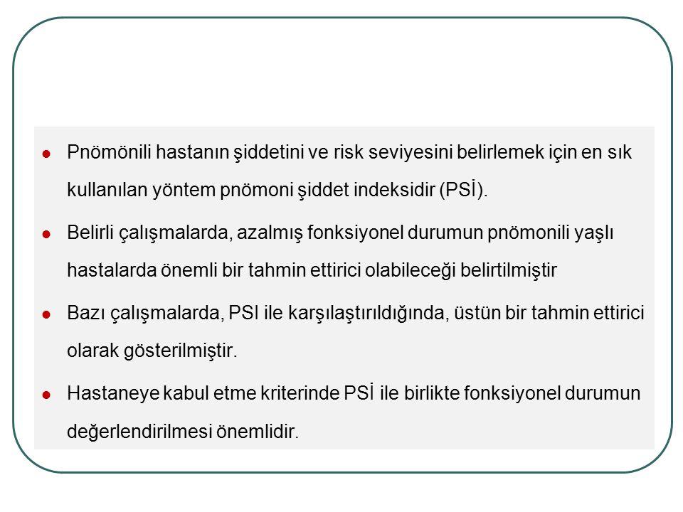 Pnömönili hastanın şiddetini ve risk seviyesini belirlemek için en sık kullanılan yöntem pnömoni şiddet indeksidir (PSİ).