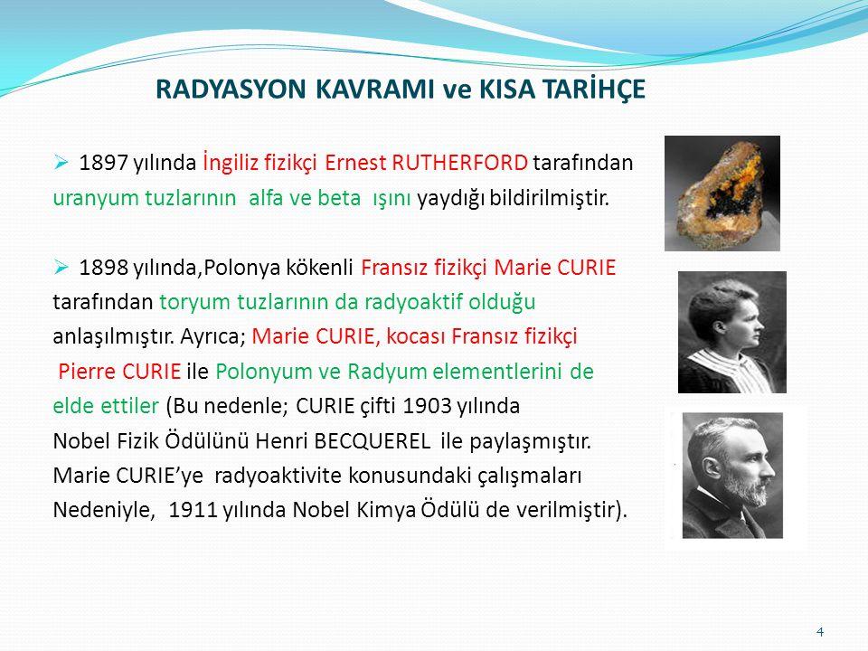 RADYASYON KAVRAMI ve KISA TARİHÇE