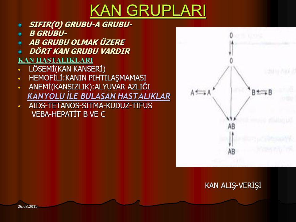 KAN GRUPLARI SIFIR(0) GRUBU-A GRUBU- B GRUBU- AB GRUBU OLMAK ÜZERE