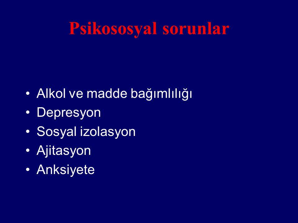 Psikososyal sorunlar Alkol ve madde bağımlılığı Depresyon