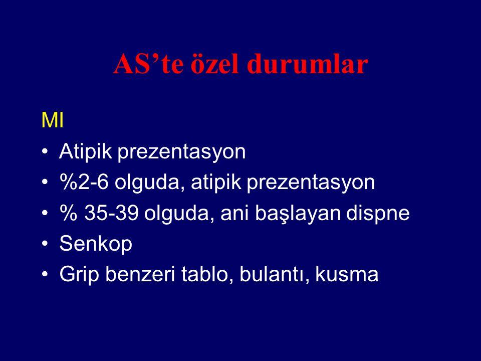 AS'te özel durumlar MI Atipik prezentasyon